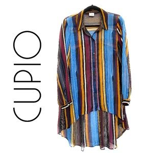 Cupio Hi-Low Button Up Striped Collared Tunic